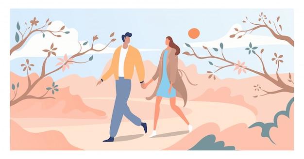 Beau Couple à Pied Arbre De Fleur De Printemps Et Fleur, Amant Mâle Femelle Promenade Printemps Période Jardin Illustration. Vecteur Premium