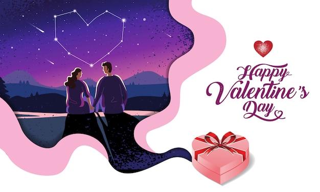 Beau couple, saint valentin, festival, fond de nuit paysage, mise en page de conception de bannière Vecteur Premium