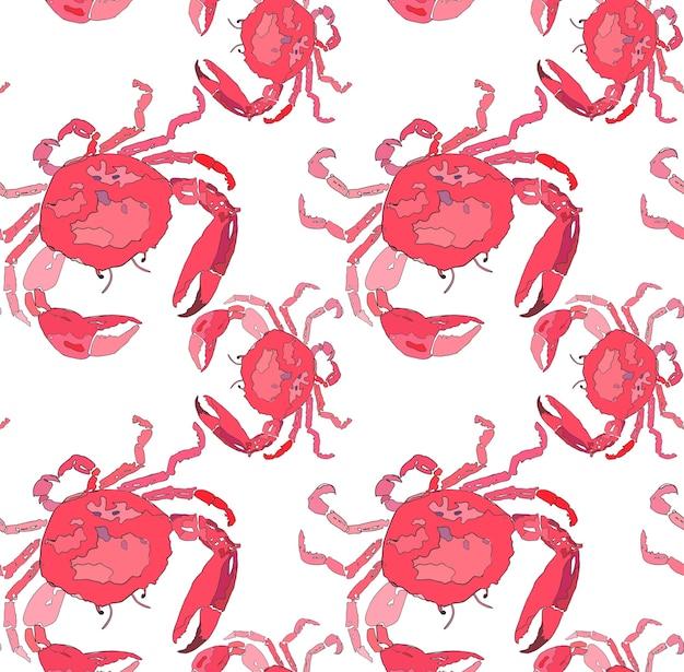Beau Délicieux Lumineux Coloré Mignonne Belle été Mer Délicieux Motif De Crabes Rouges Vecteur Premium