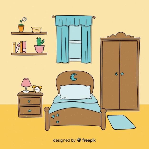 Beau design de chambre dessiné à la main Vecteur gratuit