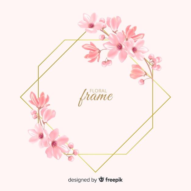 Beau design de cadre floral doré Vecteur gratuit