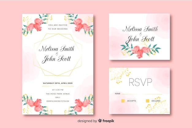 Beau design d'invitation carte de mariage Vecteur gratuit