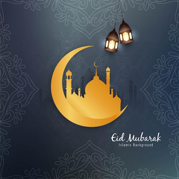Beau design islamique eid mubarak avec lune d'or Vecteur gratuit