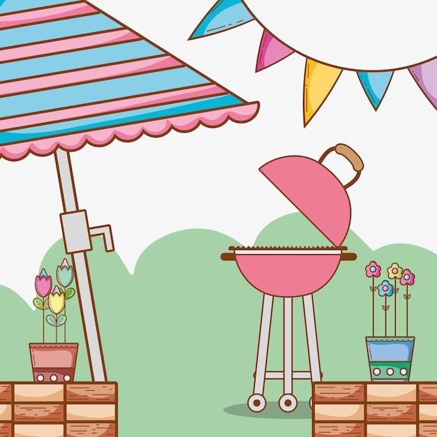Beau dessin animé de jardin | Télécharger des Vecteurs Premium