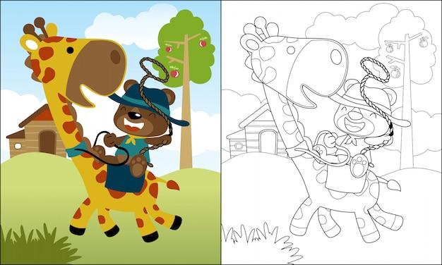 Beau dessin animé ours monter sur une girafe drôle Vecteur Premium