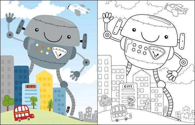 Beau dessin animé de robot dans la ville Vecteur Premium