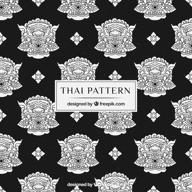 Beau et élégant motif thaïlandais Vecteur gratuit