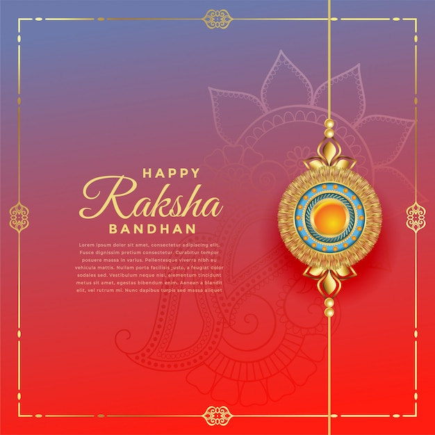Beau festival de rakshabandhan avec décoration de rakhi, modèle de texte Vecteur gratuit