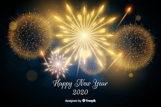 Beau feu d'artifice de la nouvelle année 2020 Vecteur gratuit