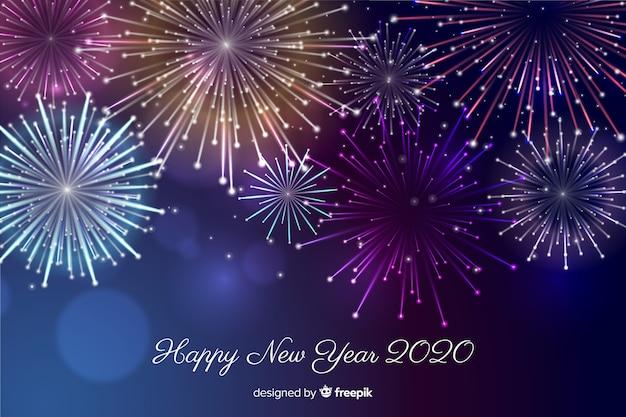 Beau feu d'artifice pour une bonne année 2020 Vecteur gratuit