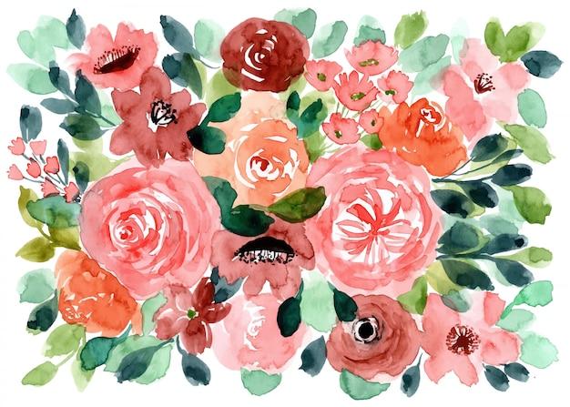 Beau fond aquarelle floral Vecteur Premium