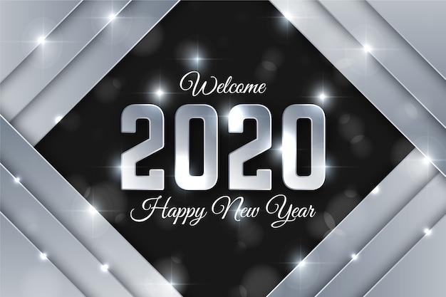 Beau Fond Argenté Nouvel An 2020 Vecteur gratuit