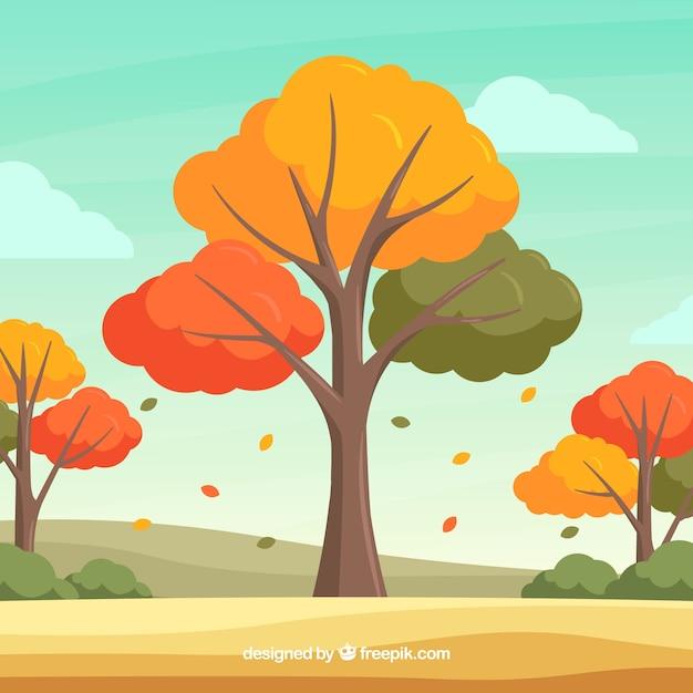 Beau fond automne avec un design plat Vecteur gratuit