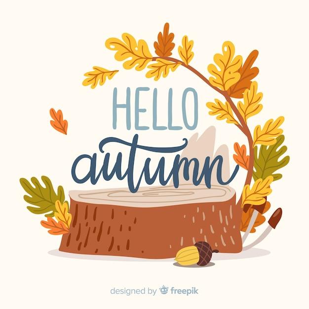 Beau fond d'automne dessiné à la main Vecteur gratuit