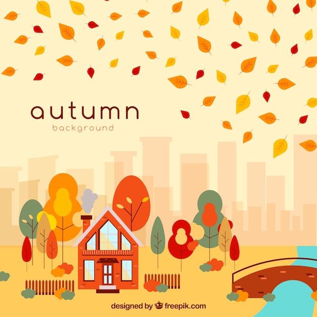 Beau fond d'automne avec paysage Vecteur gratuit