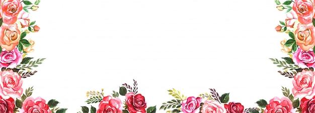 Beau Fond De Bannière De Fleurs Colorées De Mariage Vecteur gratuit