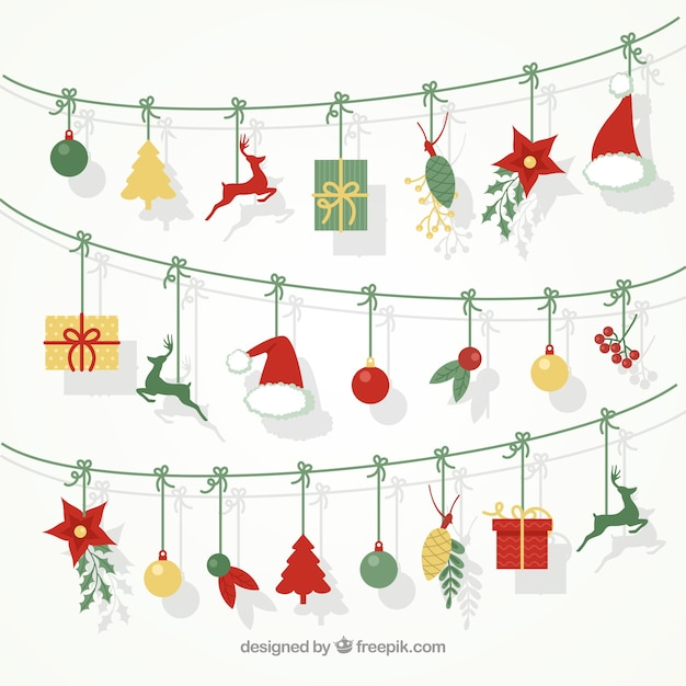 Beau fond de guirlandes avec des éléments de Noël Vecteur gratuit