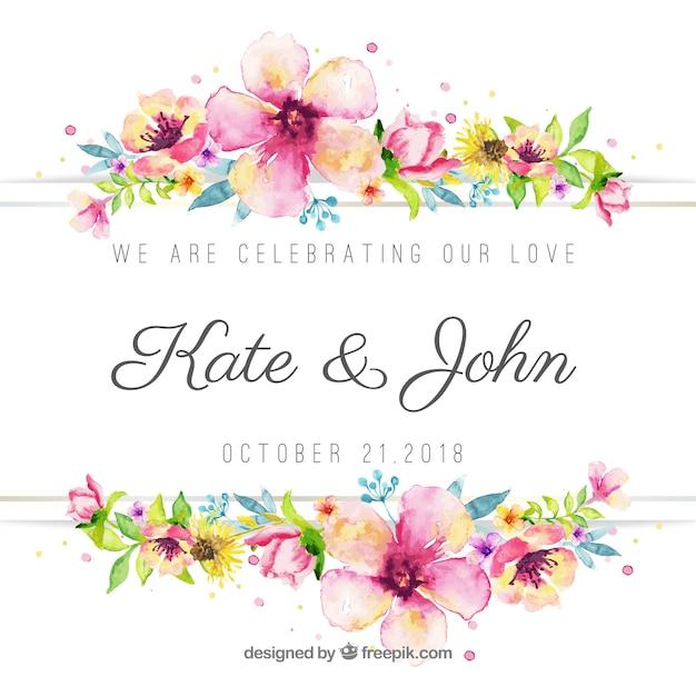 Beau fond de mariage aquarelle floral Vecteur gratuit
