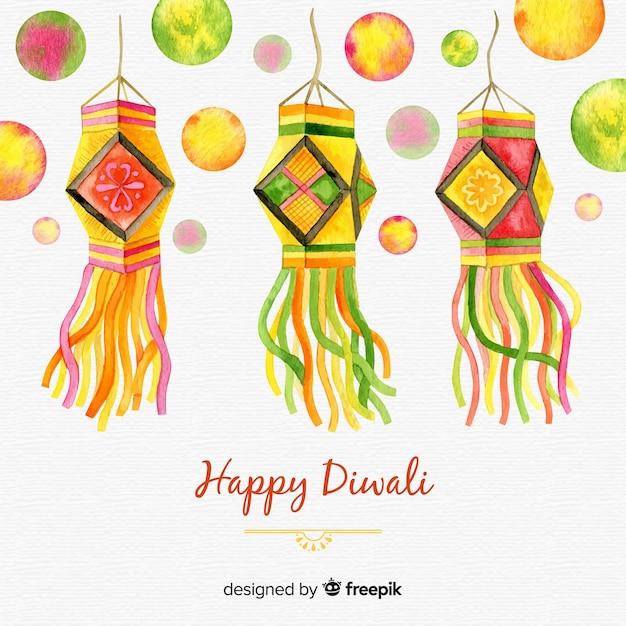 Beau fond de diwali aquarelle Vecteur gratuit