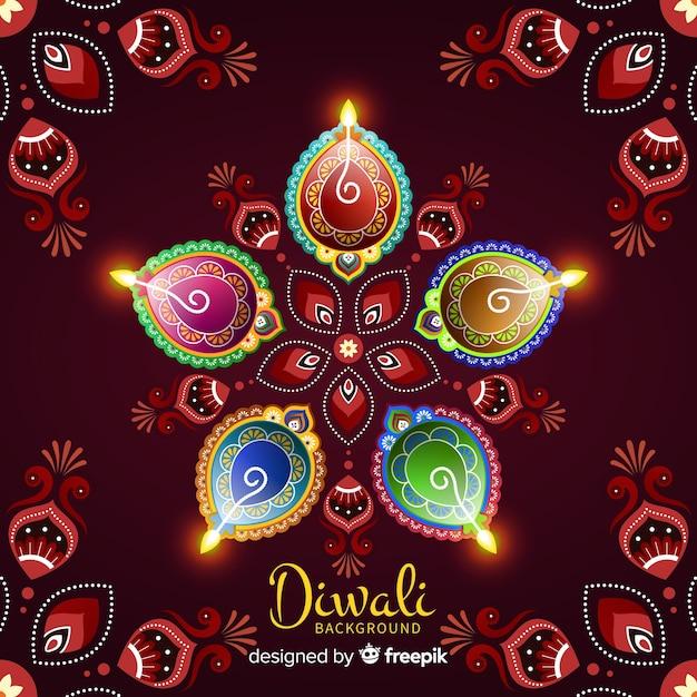 Beau fond de diwali avec un design plat Vecteur gratuit