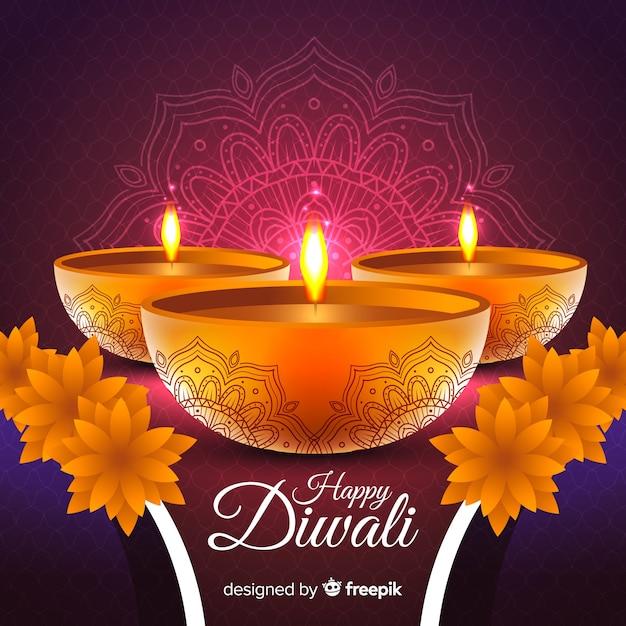 Beau fond de diwali avec un design réaliste Vecteur gratuit