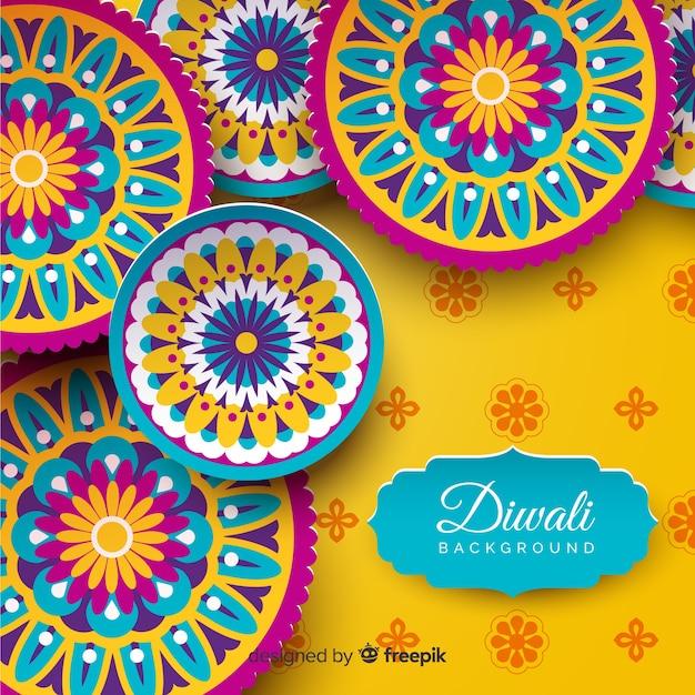 Beau fond de diwali avec un style origami Vecteur gratuit