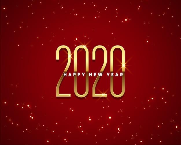 Beau fond doré et rouge du nouvel an 2020 Vecteur gratuit