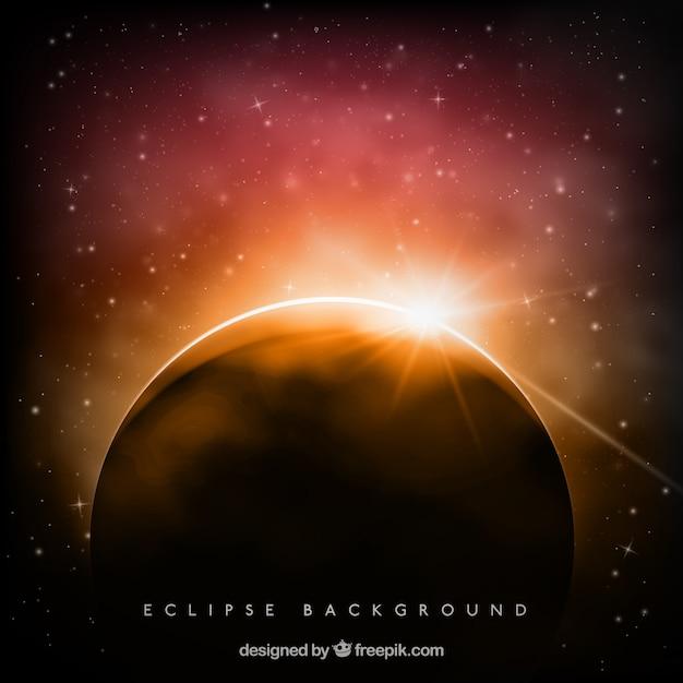 Beau fond éclipse avec étincelle Vecteur gratuit