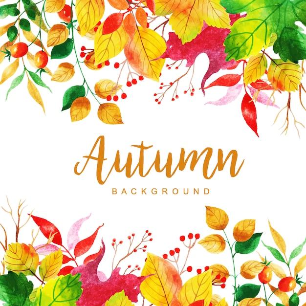Beau fond de feuilles d'automne aquarelle Vecteur Premium