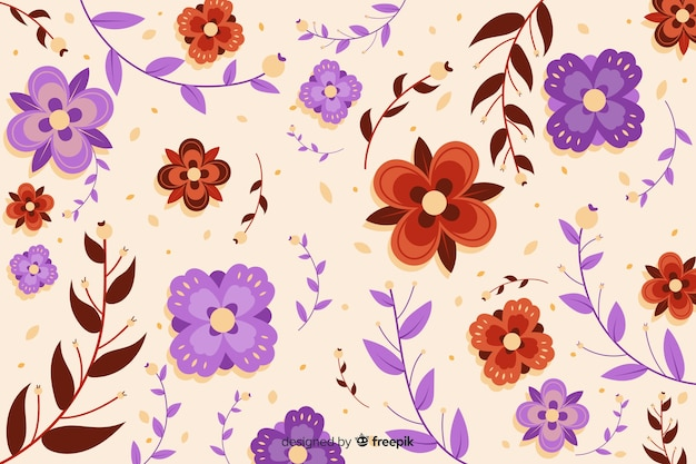 Beau fond de fleurs carrées violettes et rouges Vecteur gratuit