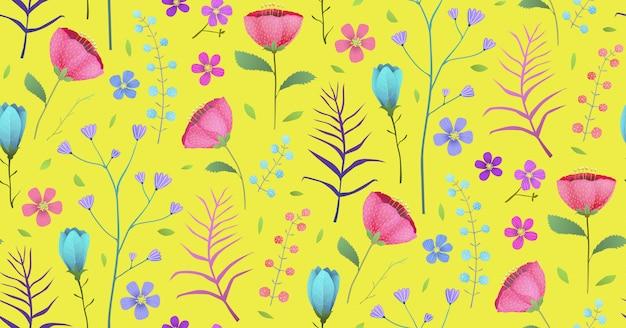 Beau Fond De Fleurs De Jardin De Fleurs De Printemps. Conception De Toile De Fond Transparente Motif Dans Un Style Aquarelle. Vecteur Premium