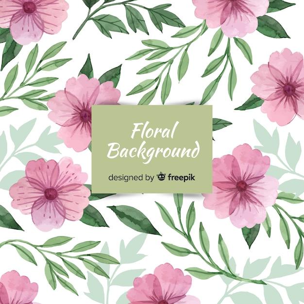 Beau fond floral aquarelle Vecteur gratuit