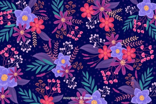 Beau fond floral au design plat Vecteur gratuit