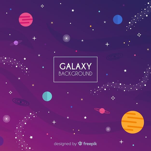 Beau fond de galaxie avec un design plat Vecteur gratuit