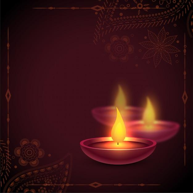 Beau Fond De Lampe à L'huile De Diya Joyeux Diwali Vecteur gratuit