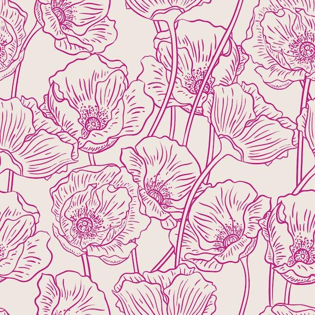 Beau Fond De Nature D'été Avec Des Coquelicots Violets Vecteur Premium