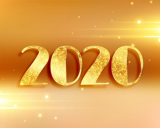 Beau fond de nouvel an 2020 aux couleurs dorées Vecteur gratuit