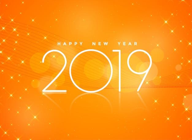 Beau fond orange 2019 bonne année Vecteur gratuit