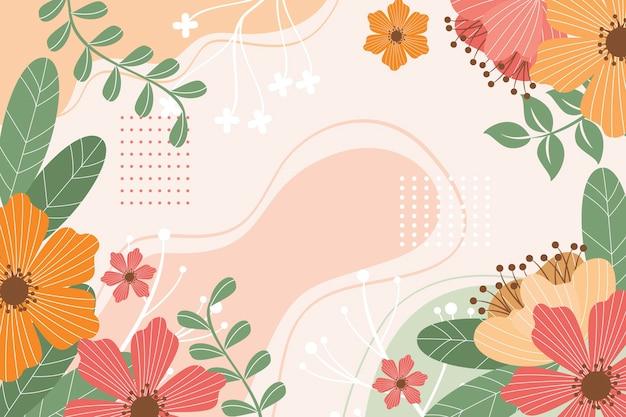 Beau Fond De Printemps Dessiné Avec Des Fleurs Vecteur gratuit