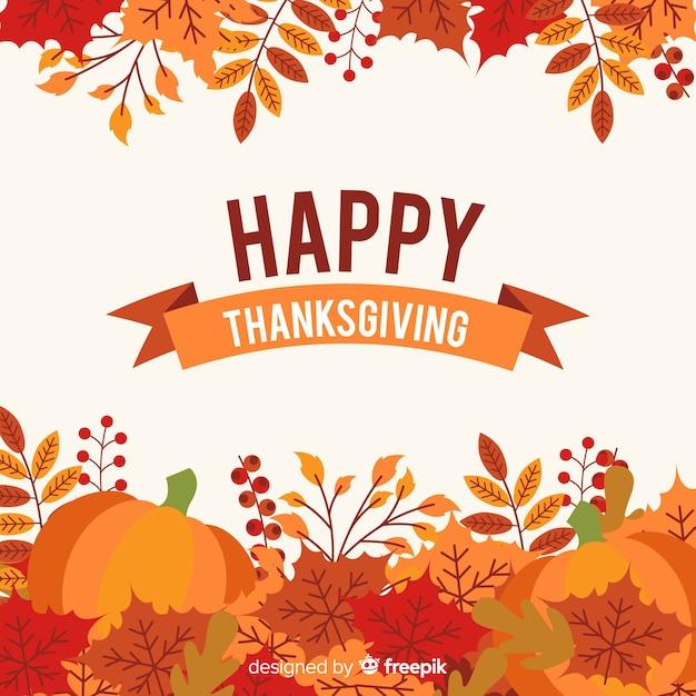 Beau fond de thanksgiving avec un design plat Vecteur gratuit