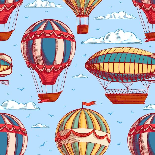 Beau Fond Transparent Coloré Rétro Avec Des Ballons Et Des Dirigeables Volant Vers Un Ciel Nuageux Vecteur Premium