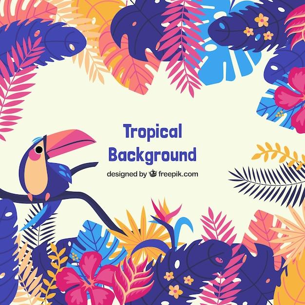 Beau fond tropical avec un design plat Vecteur gratuit