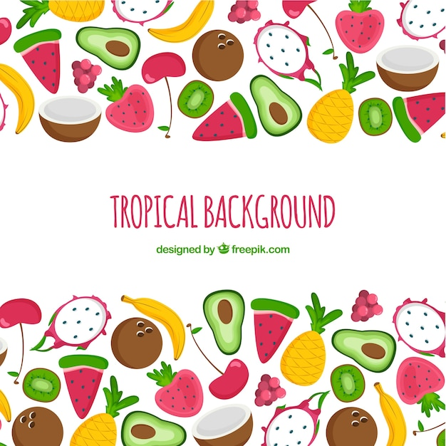 Beau Fond Tropical Dessiné à La Main Vecteur gratuit