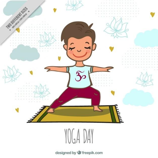 Beau garçon faisant du yoga sur un fond de tapis Vecteur gratuit