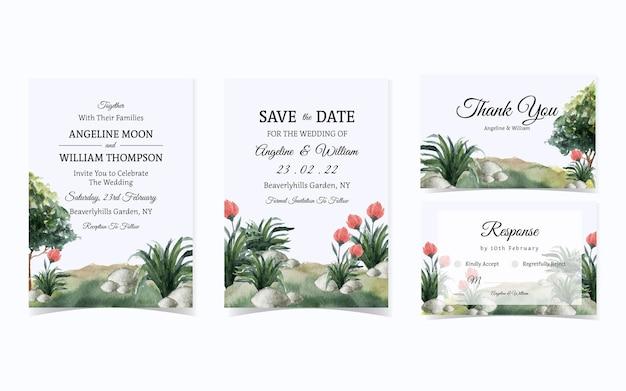 Beau Jardin Vert Avec Suite D'invitation De Mariage De Fleurs Vecteur Premium