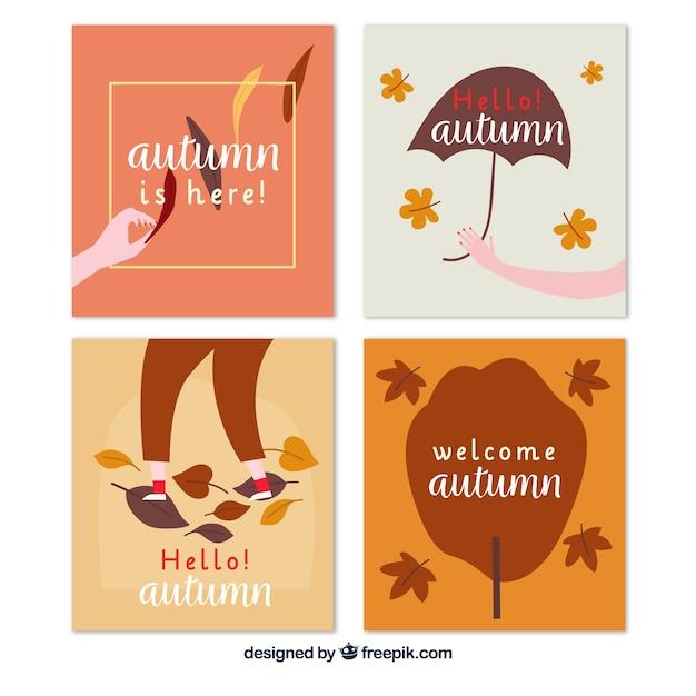 Beau jeu de cartes automne dessinés à la main Vecteur gratuit