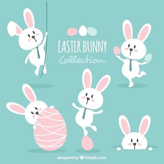 Beau jeu de lapin de Pâques Vecteur gratuit