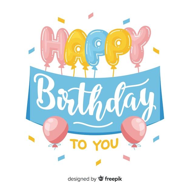 Beau lettrage joyeux anniversaire Vecteur gratuit