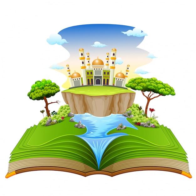 Le beau livre d'histoire avec la jolie mosquée et la rivière dessus Vecteur Premium