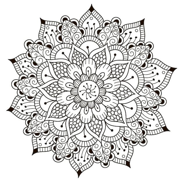 Beau Mandala Floral Vecteur Premium